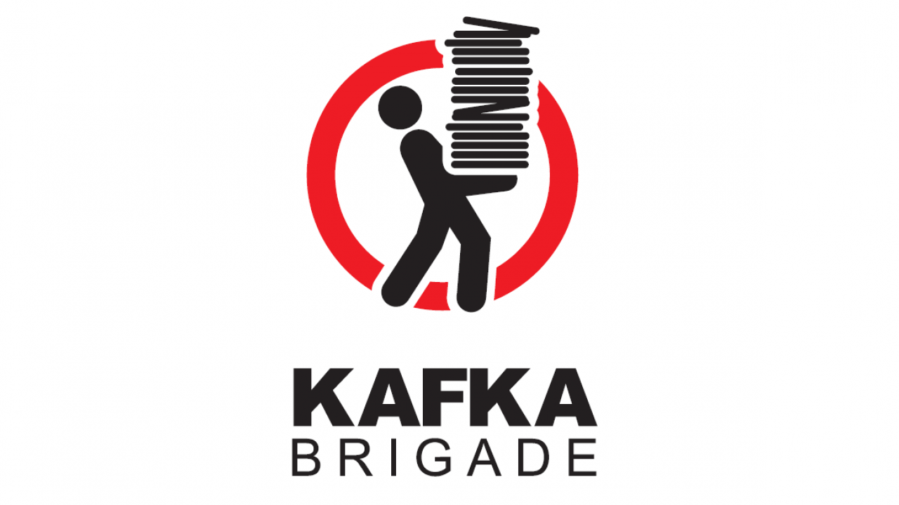 Kafka Brigade Logo figure holding a big pile of files